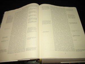 Dreispaltiger Satz von 'Zettel's Traum' (S. 62 - 63 der Bargfelder Ausgabe)