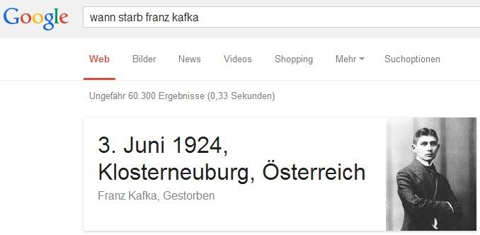 Googles Antwort auf die Suchanfrage: Wann starb Franz Kafka